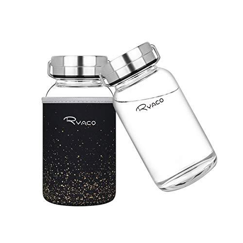 Ryaco Botella de Agua Cristal 800 ML, Boca Ancha Botella de Agua Reutilizable, Sin BPA Antideslizante Protección Neopreno Llevar Manga y Cepillo de Esponja (800ml, Brillo Negro)