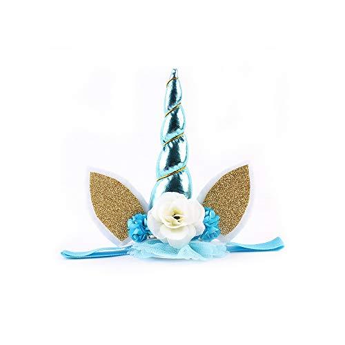 Unicorn Head Band, Unicorn hoofd slijtage Unicorn Hoorn met bloem dressing hoofdband Decoratie van de Verjaardag, voor Unicorn Themed Cake Topper, Fancy Dress Party Girl Decoration,Gold