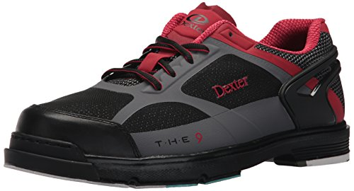 Dexter Men's The 9 HT Bowling Shoes, Black/Red/Grey, Size 12.0