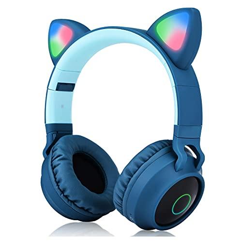 Kaishengyuan Cuffie per Bambini Over-Ear, con orecchie da gatto con luce a LED, Slot per Schede SD, Radio FM, Jack Audio da 3,5 mm, Pieghevoli, per Bambini e Adulti (Blu)
