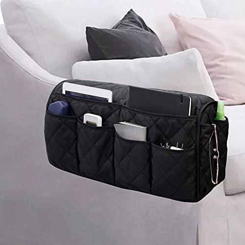 MVPACKEEY Soporte de control remoto antideslizante, organizador de apoyabrazos para sofá sillón reclinable, sillón con 14 bolsillos para teléfono inteligente, libro, revistas (negro)