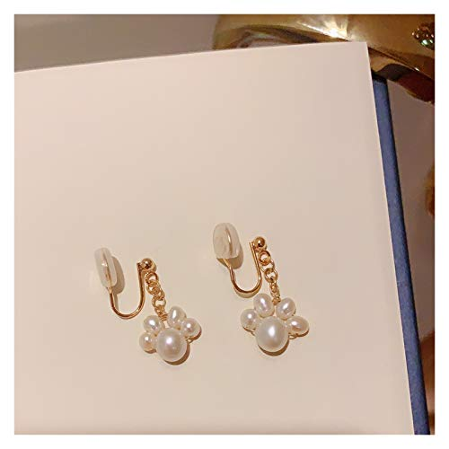 OMING Earring Cute Cat Claw Natural Pearl 14K Gold Earrings Earrings Long Girl Ear Clip Variety of Options Women's Earrings (Color : D)