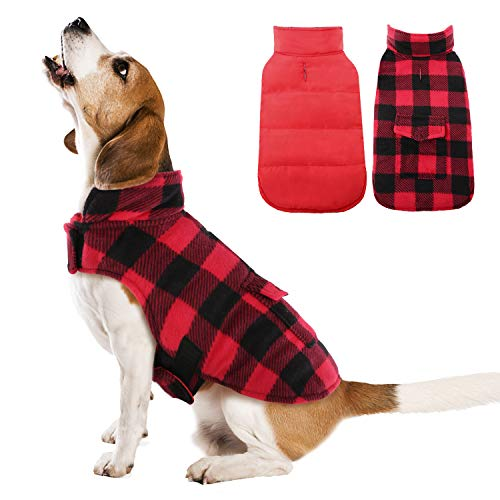 Kuoser British Style Plaid Dog Winter Coat, Windproof Cozy Cold Weather Dog Coat Dog Apparel Dog Jacket Dog Vest for Small Medium and Large Dogs with Pocket & Leash Hook Red L