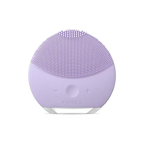 FOREO LUNA mini 2 Facial Cleansing Brush and Portable Skin Care device made with Ultra Hygienic Soft Silicone for Every Skin Type USB Rechargeable Lavender Plus 1