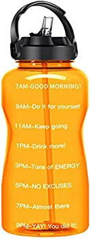 QuiFit Motivational Gallon Water Bottle with Straw & Time Marker BPA Free