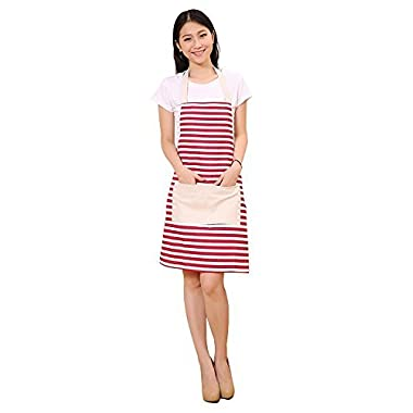 FSK Cotton Canvas Women's Apron with Convenient Pocket Durable Stripe Kitchen and Cooking Apron for Women Professional Stripe Chef Apron for Cooking, Grill and Baking (red and white)