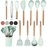 Kitche Utensils Set - 12 Silicone Cooking Utensils for Non-stick Cookware. Wood Kitchen Utensils. BPA Free, Silicone Spatula Wooden Spoons Set Tongs. Kitchen Gadgets Tool Set Gifts (Pastel Green)