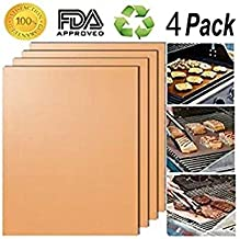 Bokdy BBQ Grill Mats Baking Mats, Non-Stick, Reusable and Heat Resistant, FDA-Approved, PFOA Free, Works on Gas, Charcoal, Electric Grill, Set of 4-15.75 x 13 Inch