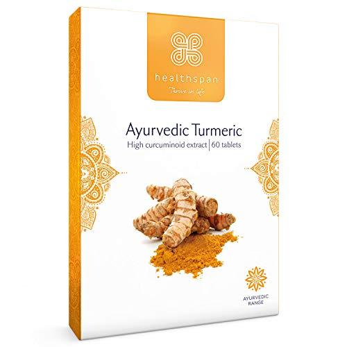 Turmeric | Ayurvedic | Healthspan | 60 Tablets | 500mg Turmeric Extract | Added Vitamin C | 95% Curcuminoids | Vegan