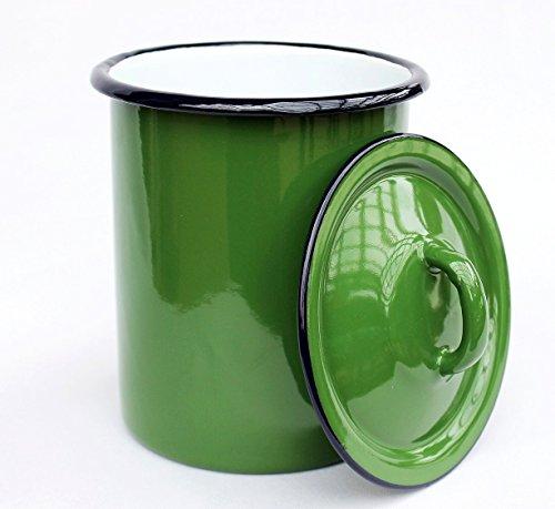 DanDiBo Aufbewahrungsdose 665Z Grün Dose 19 cm emailliert Behälter Landhaus Mehlbüchse Emaille