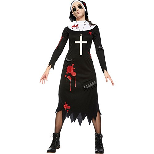 amscan 9902706 Gruselige Nonne Zombie-Kostüm, Größe 44-46, Schwarz, Women: 16-18