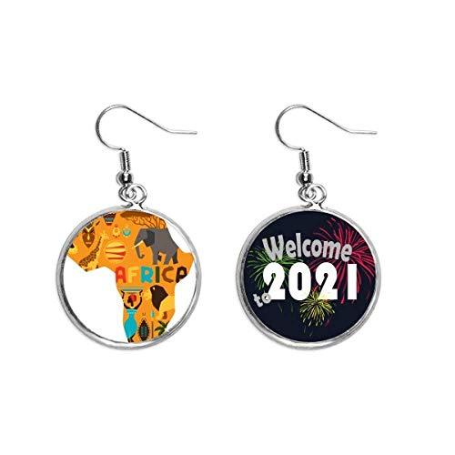 Colgante de oreja con diseño de mapa de África con elefante, sabana africana, 2021 bendición