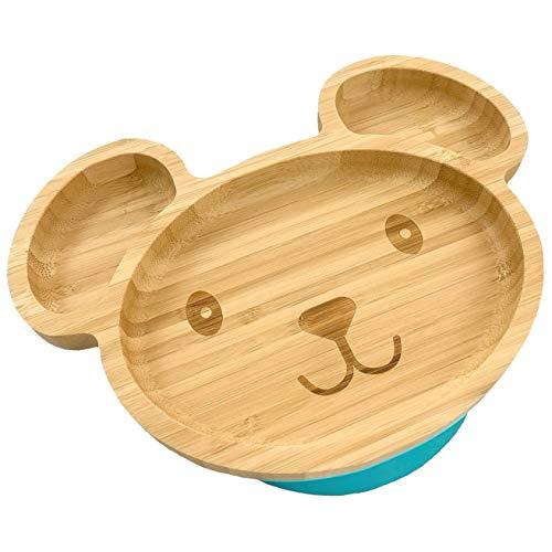 Hochwertiger Baby/Kleinkind Saugnapf-Teller aus Bambus mit rutschfestem Saugfuß, Bärchen (SkyBlue)