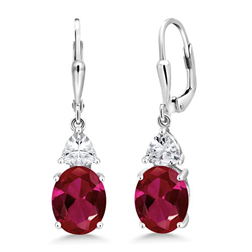 Gem Stone King 925 Sterling Silver Red Created Ruby Women Dangle Earrings (5.00 Ct Oval 10X8MM)