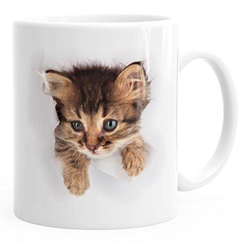 MoonWorks Kaffee-Tasse mit süßem Katzen-Aufdruck Katzen Baby schaut aus der Tasse weiß Unisize