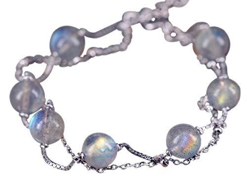 NicoWerk Damen Silberarmband Mondstein aus 925 Sterling Silber Kugel Mehrreihig mit Stein SAB169