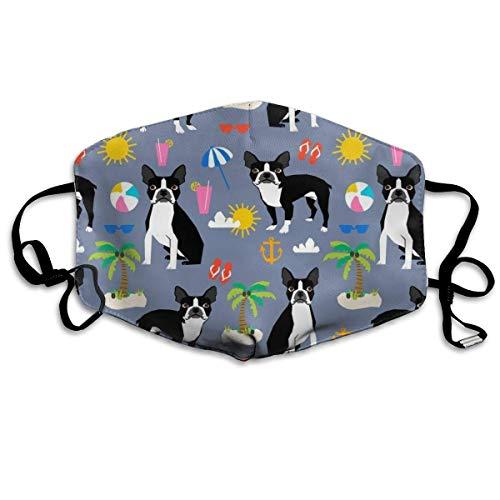 Boston Terrier, playa divertida linda playa verano perro tropical lindo perro cara cubierta cara cara cubierta anti polvo viento para niños adolescentes hombres mujeres