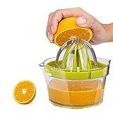 Swetup Exprimidor 4 en 1, exprimidor de limones sin BPA, exprimidor manual de plástico con recipiente medidor incorporado, tracción de fricción y separador de huevos, exprimidor de limas para cocina