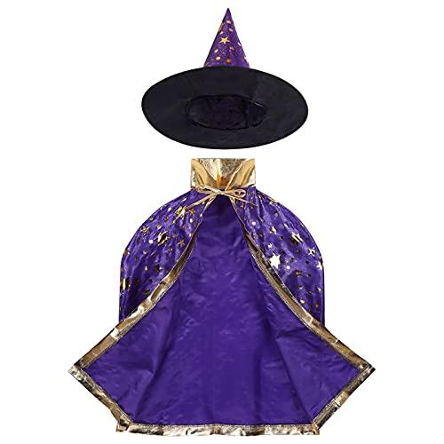 Capa de Halloween Nios Halloween traje bruja mago capa capa con sombrero puntiagudo conjunto anime cosplay fiesta estrellas patrn nias nios mago traje Decoracin de Halloween ( Color : Purple )