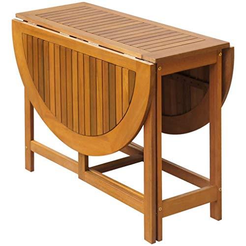 Tidyard Oval Drop Leaf Table Folding Deck Table Outdoor Acacia Wood 51.2inch x 35.4inch x 28.3inch (L x W x H)