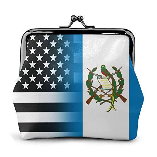 Monedero de cuero con hebilla de la bandera de Guatemala en blanco y negro