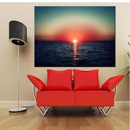 Cczxfcc, 1 stuk zonsondergang boven de zee, landschap, muurschilderingen, voor woonkamer, moderne decoratie thuis, foto's, HD-schilderijen op canvas 30*45cm,frame
