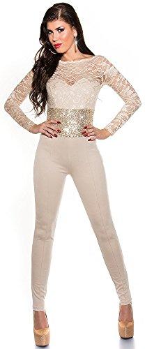 KouCla overall met lange mouwen met kant en pailletten - elegante jumpsuit eendelig in verschillende Kleuren maat S, M, L (V184521) (L, Beige)