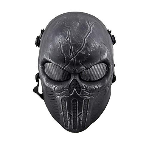 ATAIRSOFT Tactical Airsoft Vollgesichts-Schädel-Skelett-Maske Paintball-Spiel Cs War Game-Schutz Schutz für Outdoor Jagd Kostüm Bar Thema Halloween Karneval Cosplay SB