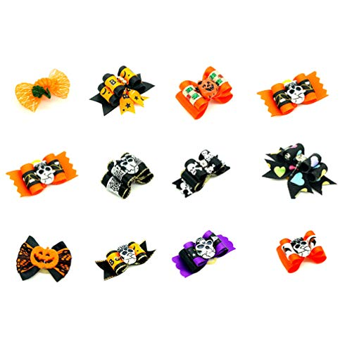 UKCOCO 24 Piezas Clips de Pelo Bowknot para Gato y Perro, Pinza de Pelo Lindo para Perrito, Accesorios de Clip de Pelo de Halloween para Mascotas (Color al Azar)