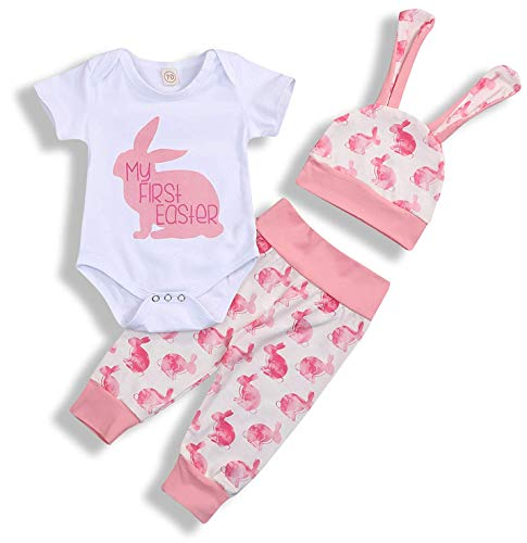 My 1st Easter Newborn Baby Boy Girl Outfits Rabbit Romper Top+Cartoon 3D Bunny Ears Hat+Cute Pant 3Pcs Twins Clothes Set (A-Pink, 0-3 Months)