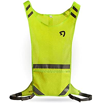 Stout Gears Reflective Running Vest for Safety and High Visibility - Reflective Vest Ideal for Jogging, Walking, Cycling - Lightweight and Adjustable (Medium, Yellow)