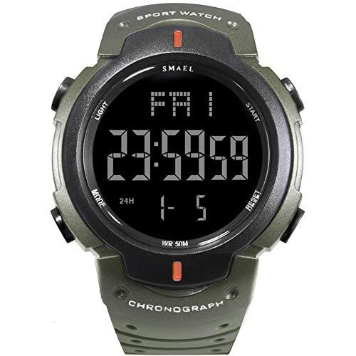 Los Hombres del Reloj electrónico Digital de los Deportes del Reloj Impermeable al Aire Libre de múltiples Funciones del Reloj fengong (Color : Army Green)