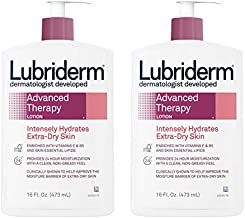 Lubriderm Advanced Therapy Moisturizing Lotion with Vitamins E and B5, Deep Hydration for Extra Dry Skin, Non-Greasy Formula, 16 fl. oz (Pack of 2)