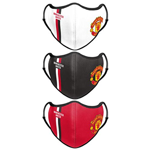 Forever Collectibles UK MANCHESTER UNITED FC FOOTBALL PREMIER LEAGUE CHAMPIONSHIP SPORT FACE COVER - 3 PACK
