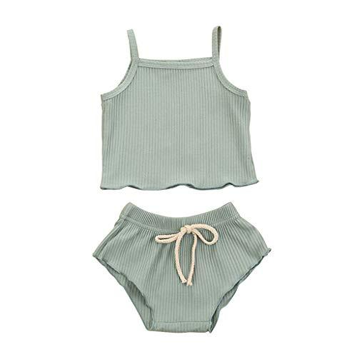 LEXUPE Neugeborene Baby Mädchen Jungen Strap Solid Weste Shorts Hosen Set Sommer Outfits(Minzgrün,70)
