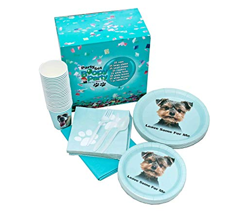 Party Supplies | Dog Themed Party Supplies | 176 Pcs | Disposable Large & Small Paper Plates, Cups, Napkins, White Tableware, Blue Tablecloth | by Boopy