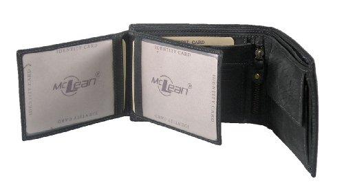McLean Geldbörse in querformat Nubuck Leder, Farbe:schwarz
