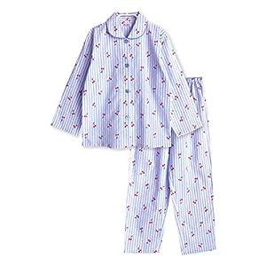 品 綿100% 長袖 ガールズ パジャマ 薄手 前開き 春 夏 初秋 かわいいチェリーストライプ 160サイズ ブルー