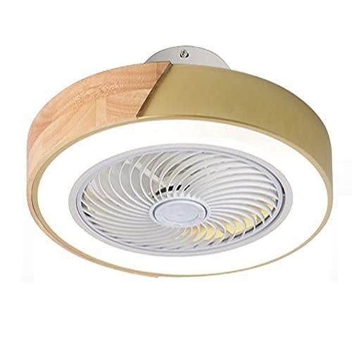 MAVL Ventilador de Techo con luz LED, 60W Iluminación de Ventilador de Techo dimmable Moderno 60W, 5 Cuchillas Invisibles, 20'Fábrico de Techo Lightsture Mount (Color : Amarillo)
