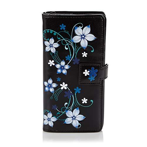 Shagwear Portemonnaie Geldbörse für Junge Damen, Mädchen Geldbeutel Portmonaise groß Designs:, Blaue Blüten Schwarz/ Blue Blossoms, Large