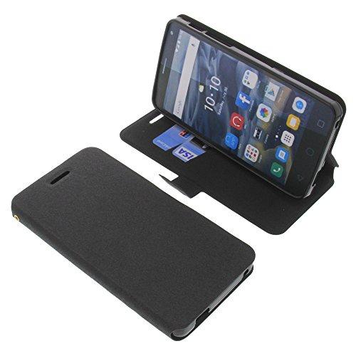 foto-kontor Tasche für Alcatel One Touch Pop 4S Book Style schwarz Schutz Hülle Buch