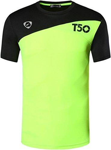 jeansian Herren Sportswear Quick Dry Short Sleeve T-Shirt LSL131_GreenYellow M