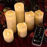 Set of 6 Imperfect Variety Ivory Wax Remote Controlled Battery Operated Flickering Candles with Remote and Batteries