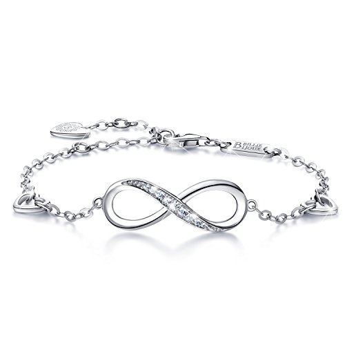 Billie Bijoux Womens 925 sterling Silver Infinity Endless Love Symbol Charm Adjustable Bracelet Christmas Day Gift (1-silver)