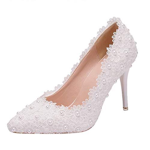 FNKDOR Schuhe Damen Stilett Hochzeit Pumps Spitze Strass High Heels Brautjungfer Einzelne Schuhe Weiß 38 EU