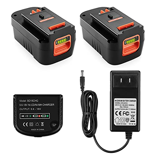 Yabelle 2Pack 3.0Ah Lithium Replacement Battery for Black and Decker 18 Volt Battery HPB18 HPB18-OPE 244760-00 A1718 FS18FL FSB18 Firestorm 18V Battery(Charger Included)