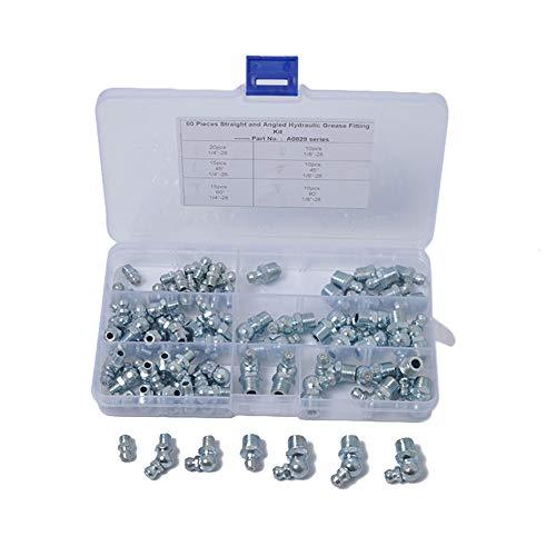 Fransande - Kit de construcción de acero, surtido de grasa hidráulica, kit métrico de tamaño métrico de 1/8 a 28 en acero, varios colores