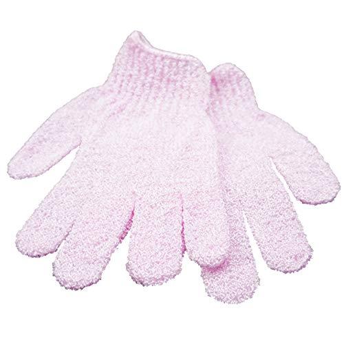 GS-Nails Massage Handschuh Duschhandschuh Peelinghandschuh Peeling 1 Paar (Rosa)