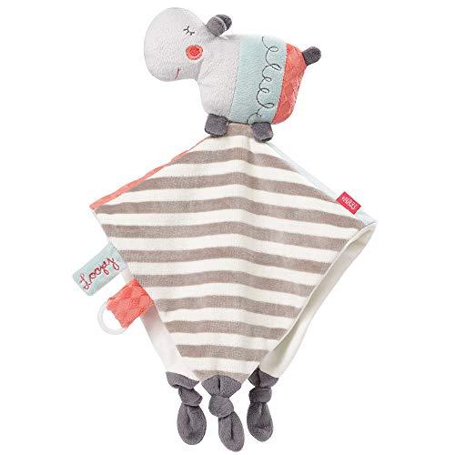 FEHN 059090 Schmusetuch Nilpferd Deluxe / Spielkamerad, Einschlafhilfe & Stofftier-Schnuffeltuch mit Befestigungsring für Schnuller zum Greifen und Fühlen, für Babys und Kleinkinder ab 0+ Monaten