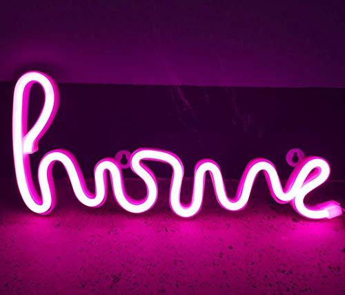 Luz nocturna al neón, luces de neón, lámpara de pared decorativa con luz nocturna con batería y luz de neón para la casa con alimentación USB (rosa)